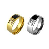 18k gold schwarzer onyx ring großhandel-2018 neue ankunft schmuck 8mm black onyx cz herren diamant ring titanium stahl gold silber hochzeit ringe für frauen männer