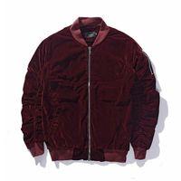 красные мужские рубашки оптовых-Зимняя теплая модная куртка-бомбер FEAR OF GOD Твердые черные винно-красные мужские куртки с длинным рукавом на молнии