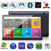 Wholesale new cpu wholesale - HD Capacitive Touch Screen 7 inch Car GPS Navigator Bluetooth AVIN GPS CPU 800*480 WinCE MP4 FM Transmitter DDR256MB 8GB 3D Maps