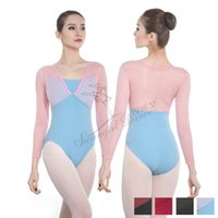 f24318ea48 Wholesale spandex leotards bodysuits online - Ballet Bodysuits for Girl  mesh long Sleeve dance ballet Leotard