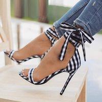 bacaklar yüksek topuklu yay toptan satış-İskoç Ekose Yüksek Sandalet Kadın Çapraz Bağlı Topuklu Bayanlar Ayak Bileği Kayışı Dantel Up Parti Bow Yüksek Ayakkabı