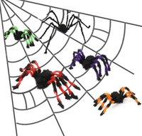 Wholesale spider toy scary online - 30cm cm cm Fake Spider Scary Halloween Party Decor Mask Adult Decoration Plush toy Halloween Decoration props FFA782
