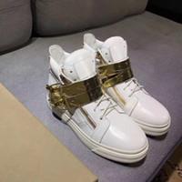 ingrosso stili di catena in oro bianco-2018 moda alta top bianco stile di colore scarpe sportive in pelle di migliore qualità con fibbia in oro catena uomo donna scarpe da viaggio con scatola