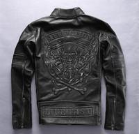 carrinho da raça da motocicleta venda por atacado-Aflição do vintage preto jaqueta de motoqueiro 3D Flame skull head homens jaquetas de couro genuíno gola jaqueta de corrida