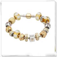 perlas de vidrio de murano chapado en oro al por mayor-Moda Pandora Style Charm Bracelets 18k chapado en oro Cristal de Murano CrystalEuropean Charm Beads Se adapta a las pulseras del corazón del brazalete Joyería DIY