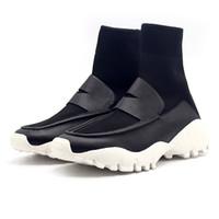 botines blancos de punto al por mayor-Hombre Botines Unisex planos casuales Tela elástica Mujeres Otoño invierno zapatos de punto mocasines ultra ligeros resistentes al desgaste negro blanco botas deportivas