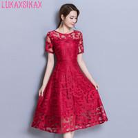 robes coréennes plus achat en gros de-2018 nouvelles femmes robe d'été style coréen de haute qualité maille robe en dentelle, plus la taille M-3XL élégant Big Hem robes de soirée