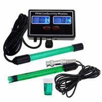 probador de ph al por mayor-Medidor de conductividad en línea PH EC Monitor de medidor ATC, Control continuo de calidad del agua en tiempo real, para acuario, estanque