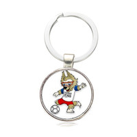 Wholesale russian keyring resale online - Fashion Metal Keychain Russian World Cup Mascot Wolves Time Keyring Cute Cartoon Key Buckle Pendant Fan Souvenir sx Y