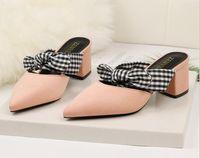 dantel kravat ilmi pembe ayakkabılar toptan satış-Yeni Moda Ince Topuklar Ayakkabı Seksi Kadın kadın Ayakkabı Moda Papyon Terlik Pompalar Yüksek Topuklu Kadın Ayakkabı En Iyi Lace Up Siyah Pembe