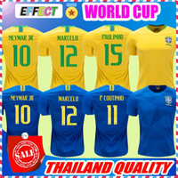 Wholesale Gold Yellows - NEYMAR JR Brasil soccer jerseys 2018 World cup Yellow Blue Brazil Top Quality JESUS COUTINHO MARCELO FIRMINO football shirts camisa de futeb