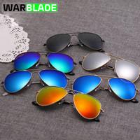 gafas de niños azules al por mayor-WarBLade Cycling Sports Outdoor Polarized Kids Gafas de sol Boys Girls Silver Frame Blue Lens Pilot Sun Glasses para niños