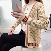 blusas botão feminino venda por atacado-Manta De Malha Cardigan Camisola das mulheres Patchwork Botão de Manga Longa Fino Mulheres Camisolas 2018 Outono Outwear Roupas Femininas XXL