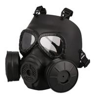 casco táctico del ejército al por mayor-M40 Doble Ventilador Máscara de Gas CS Filter Paintball Helmet Tactical Army Capacetes De Motociclista Guardia FMA Cosplay