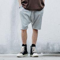 ingrosso sweatpants neri di hip hop-All'ingrosso-New Fashion Black and Grey Cross Shorts Drop Cavallo Pant Baggy Harem Felpe pantaloni corti pantaloni sportivi affusolati Hip Hop Summer Style