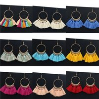 Wholesale fringe charm - Europe and the United States creative fan jewelry handmade fringe earrings Bohemian jewelry circle ear ornament manufacturers