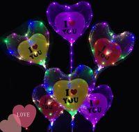 tiras de amor al por mayor-Luminoso LED Bobo Globo te amo Globos en forma de corazón con 3M Led Strip Wire Globos Luminosos Led Party Decoración de Navidad KKA5868