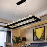 modern dikdörtgen kolye lambaları toptan satış-Modern Kristal Kolye Lamba Demir Siyah Kristal Avize Asılı Işık Restoran Dikdörtgen Avize Aydınlatma Büyük led Kolye Işıkları