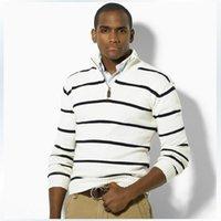 ingrosso maglioni del collo di zip-Mens maglioni di marca Stand colletto Stripes Collo con zip Mens Designer Maglione Business Men Top M - 3XL