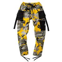 ingrosso pantaloni gialli per gli uomini-Pantaloni Hip Harem Camouflage Uomo Pantaloni cargo Tactical Streetwear Pant Pantaloni Casual Camo gialli Tasca 2018 Anniversario Le vendite