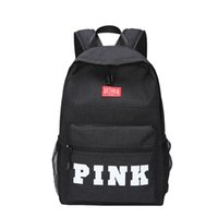 Wholesale large canvas backpack for school - PINK Letter Backpacks Student Fashion Large Female Travel Backpack For School Bag Outdoor Travel Bags