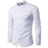 traje de macho al por mayor-Novedad Tang Suit Male Stand Collar Shirt Business Hombre Breve trabajo de oficina Blusa China Style 2XL Slim Elegante Men Dinner Shirts