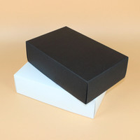 Wholesale gift boxes for shoes - 28*18*8cm Large Black White Paper Gift Box Big Gift Kraft Cardboard Box For T-shirt Shoes Underwear ZA6153