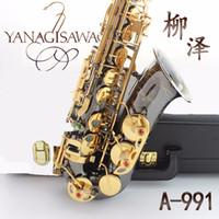 Wholesale alto professional resale online - Professional Japan Yanagisawa A Black Nickel Plated Body Gold Plated Key Alto Eb Saxophone Brass Instruments Music E Flat Saxofone