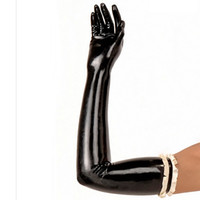 Wholesale white catsuit women - New Arrival Rushed Catsuit Hot Sexy Women solid color red black white long Latex Gloves Fetish with chiffons XS-XXL