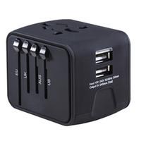 nimh aaa bateria recarregável venda por atacado-Adaptador de Viagem Universal All-in-one Carregador de Viagem Internacional 2.4A Dupla USB Worldwide Power Adapter Plug Carregador de Parede para EUA REINO UNIDO DA UE AU