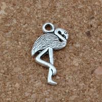 Wholesale crane pendants resale online - Flamingo Crane Charms Pendants x23 mm Antique Silver Fashion Jewelry DIY Fit Bracelets Necklace Earrings A