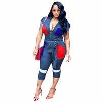 vordertasche v hals großhandel-Tief V-Ausschnitt Kurzarm Overall Frauen Sexy Patchwork Frontzipper Kontrast Farbe Insgesamt Streetwear Taschen Belted Strampler