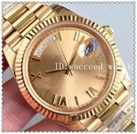 ingrosso specchio fibbia-28 Hot Men Luxury Watch 18K Gold Watch Sapphire Mirror 228238 Series Movimento automatico di alta qualità Fibbia pieghevole originale Acciaio inossidabile