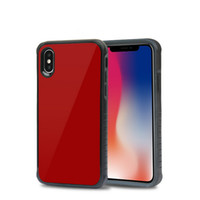 Wholesale black glossy bags - Glossy Tempered Glass Back Cover Shockproof Protective Hard PC Soft TPU Bumper Case For iphone X 6 7 8 Plus With OPP Bag
