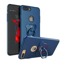 Wholesale Bear Stands - For iphone case Luxury Matte Hard PC Phone Case With Bear Finger Ring Stand for iphone x 8 7 6 6s Plus