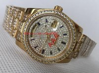 Wholesale swiss diamond 18k resale online - Luxury Top Quality Watch mm Day Date President Full Diamond K Gold Steel Swiss ETA Movement Automatic Mens Watches