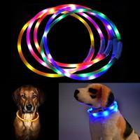 Wholesale teddy night light - Flashing Night Dog Collars USB Luminous Pet Collar Led Light USB Charging Glowing Teddy Flash Collar DDA575