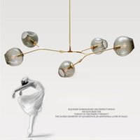 Wholesale cloth chandeliers - Lindsey Adelman globe glass pendant lamp Branching Bubble Modern Chandelier Light for kitchen cafe cloth shop 3 5 6 7 8 9 heads