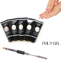 Wholesale French Nail Acrylic Kit - PVADCOL Acrylic French Kit 30ML Poly Gel Soak off UV Builder Gel Nails Extension Tips With Dual-ended UV Brush