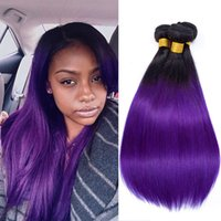 Wholesale 22 purple hair extensions for sale - Group buy 3Pcs Brazilian Ombre Human Hair Extensions B Purple Dark Roots Two Tone Hair Weaves Straight Virgin Hair Wefts Bundles quot quot