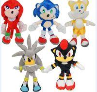 sonik oyuncak bebekler toptan satış-5pcs / 23cm Yeni Geliş Sonic Kirpi SEGA Sonic Peluş Yumuşak Bebek Oyuncak hediye Ücretsiz Kargo set