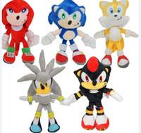 puppen sonic großhandel-5pcs / set 23cm Neue Ankunfts-Sonic The Hedgehog SEGA Sonic füllte Plüsch-weiche Puppe-Spielzeug-Geschenk Freies Verschiffen