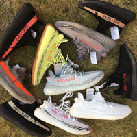 Wholesale red lawn - 2018 Sesame Butter Semi Frozen Yellow B37572 Gum Sole 350 v2 Beluga 2.0 Blue Tint SPLY 350 Zebra Black Red Running Shoes
