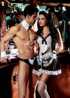 ingrosso biancheria sexy calda per gli uomini-Hot Erotic Men Sexy cameriere vestito Cosplay Costume Uomini Maid Lingerie Costumi Cosplay per Sexy Gay Men
