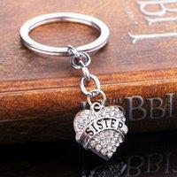 kalp anahtar zincir elmas taklidi toptan satış-12 Adet / grup Sıcak Sis Kardeş Anahtarlık Hediyeler Kristal Rhinestone Kalp Charms Anahtarlık BFF Arkadaş Aile Kadınlar Anahtar Zincirleri Yüzükler Presents