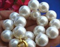 coquilles de mer rares achat en gros de-Rare énorme collier de perles blanches en forme de coquillage, mer du Sud, 20 mm AAA