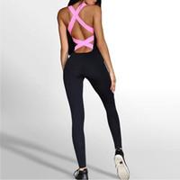 Wholesale neon crosses - JIGERJOGER 2017 new Neon Pink Cross-Back one piece training uniform bodysuit dance catsuit sportsuit Athletics Fitness Jumpsuit