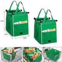 Wholesale organizer cart - Magic trolley shopping bag clip to cart shopping bag eco friendly reusable large capacity 20L foldable tote storage organizer grab bag