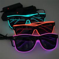 светодиодные солнечные очки оптовых-Простые эль-очки El Wire Fashion Neon LED Light Up Shutter Shaped Glow Солнцезащитные очки Rave Costume Party DJ Bright SunGlasses
