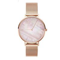 ingrosso braccialetto di perle guarda le donne-Mavis Hare Pink White Seashell Mesh Donna Orologi Pearl Dial orologio da polso con bracciale in acciaio inossidabile della stessa misura 1pz